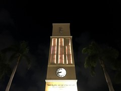 Mizner Park Clock Tower 4 (Lux Llama Productions) Tags: bocaraton florida fl south usa us unitedstates travel photographer photography landscape miami city town beach fortlauderdale westpalmbeach beaches southbeach sand ocean water turtles turtle miznerpark store stores hallway people lights night day sun palmtree tropical leave leaf iguana lizard animal pathway path sky cloud clouds building blue white buildings christmaslights summer clock clocktower clocks time view sunset dusk dawn gumbolimbo