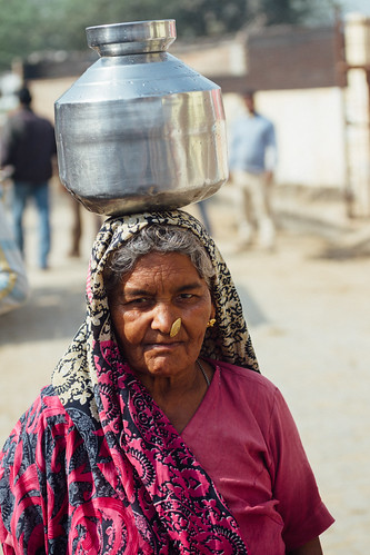 Woman With Water Jug on Head, Uttar Pradesh India