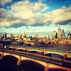 From the Mondrian Hotel (mrdamcgowan) Tags: blackfriarsbridge london londonist iphone riverthames londonvista londonskyline southlondon mondrianromperroom
