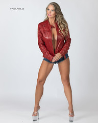red leather (Pixel_Pixie_ca) Tags: daisydukes leather redleather heels milf