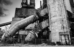 power plant 1 (Nick Frantzeskakis) Tags: industrial powerplant megalopolis mine electricity bw black white iron unit old lignite production tubes steel arcadia peloponnese greece mining costruction building sky