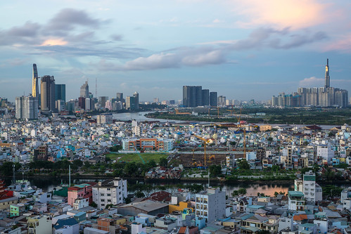 Skyline View of Ho Chi Minh City with Sun Reflection on the two tallest Buildings of the City
