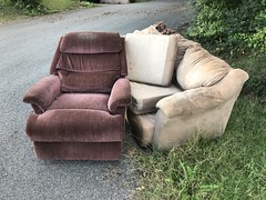 Living Room Suite (Restless Eye) Tags: knoxville tennessee usa couch sofa easychair cloth pavement grass abandoned lost