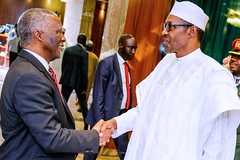 President Buhari receives in Courtesy visit H.E. Thabo Mbeki Chairperson AU High Level Panel on Illicit Financial Flows from Africa in State House on 4th Oct 2018