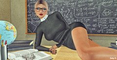 """Dressed in a sexy strict teacher outfit :""""> (bettyfl) Tags: betty bettyfl fashionista fashionlover fashion model modeling poser pose posing femme milf woman beauty sexy sensual elegant chic opensim hypergrid os hg teacher school strict discipline student classroom"""