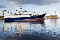 Heading Out, Fraserburgh, Scotland (Neil Mair Photography) Tags: scotland fraserburgh fishing fishingvessel vessel ship boat trawler pelagic harbour port lighthouse leavingport north northsea voyager arcticvoyager aberdeenshire uk reflections light sea evening eveninglight