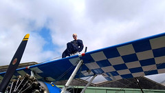 Ready to fly (First Choice 360 Mediaworks) Tags: aerosuperbatics flying circus wingwalking team wing walkers raf rendcomb breitling boeing stearman stunt plane stuntplane blue white sky samantha bumford miss poole 2018