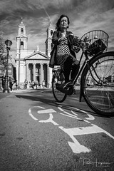 Low pov bicycle mark @ Amsterdam (PaulHoo) Tags: nikon d750 ultrawideangle wideangle samyang 14mm blackandwhite monochrome 2018 sun contrast shadow light amsterdam city people candid streetphotography mark cycling bicycle low pov synagoge spanish building architecture