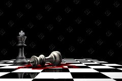 The king is down (the UMF) Tags: battle black board checkered chess cross dead death down fallen king laid last left lost lying pieces politics red reflection shiny standing two white winner won