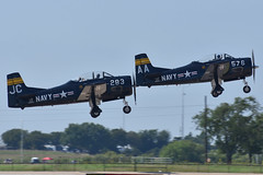 Cavanaugh T-28 Trojans (DPhelps) Tags: kafw afw alliance fort worth texas air show vapor airshow jet airplane plane aircraft bell 2018 clouds cfm cavanaugh flight museum t28 trojan aa jc n228ts n828jc
