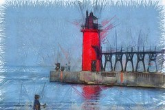 South Haven Lighthouse & Pier (FotoGuy 49057) Tags: lakemichigan southhaven michigan lighthouse pier water lake