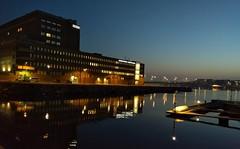 Evening, Helsinki, October 2018 (Juha Riissanen) Tags: finland helsinki evening salmisaari harbour smallboats reflections building bridge lights