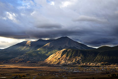 Whetstone Mtn., Crested Butte, CO (BDFri2012) Tags: whetstonemtn crestedbutte city mountains mountain storm stormy sunrise dawn fall fallcolor fallcolors clouds cloudy landscape colorado