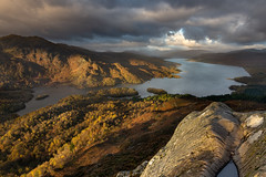 Golden Light (jasty78) Tags: lochkatrine benvane benaan trossachs loch forest goldenhour light shadows peak autumn mountain hill highlands scotland nikond7200 tokina1116mm water sky clouds sun landscape yellow orange lake sunrise