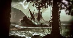 Thunder (larisalyn (Rachel)) Tags: boat ship pirateship secondlife horror halloween waves trees thunder lightening lighteningandthunder imaginedragons