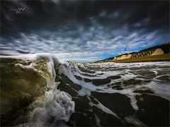 Sandgate Wave Art. (ziggystardust111) Tags: gopro sea sandgatewaterfront houses sky