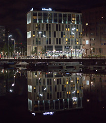 Wet reflection in Liverpool at night (Tony Worrall) Tags: night evening liverpool dark lit lights neon docks scene scenic merseyside scouse wetreflection architecture building city welovethenorth nw northwest update place location uk england north visit area attraction open stream tour country item greatbritain britain english british gb capture buy stock sell sale outside outdoors caught photo shoot shot picture captured ilobsterit instragram