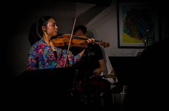 Megan (Robert Borden) Tags: violin violinist music musician woman perform jazz jazzunderground iridas iridasmusic la losangeles socal california usa northamerica candid fuji fujifilmxt2 fujiphoto 50mm