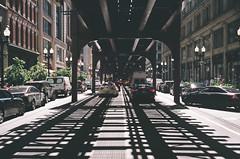 Track Symmetry (spablab) Tags: canon canonet giii ql17 film ishootfilm 40mm rangefinder canoncanonetql17giii200fujifilmsuperiamemphisfilmlablenstagger cta chicago loop wabash avenue traffic