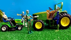 West Clampett... Interrupted (MayorPaprika) Tags: lgv20 lgvs995 118 custom diorama toy story paprihaven action figure set takara mego microman micronauts timetraveler pharoid spaceglider vintage 70s johndeere tractor mower lawn