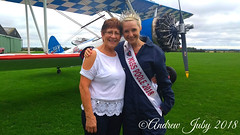 Brave Grandma! (First Choice 360 Mediaworks) Tags: aerosuperbatics wing walking raf rendcomb samantha bumford miss poole 2018 brave grandmother grass sky people airpane aircraft boeing stearman smiles engine propeller beauty queen
