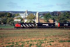 NS: CN GP40-2 9430, NS GP40X 7000, CN SD40 5960, CN SD60I 5600 west bound on ALCN at Bowers near Lyons PA Oct 14, 1999 (swissuki) Tags: ns cn railroads reading gp402 gp40x sd60i sd40 lyons pa us