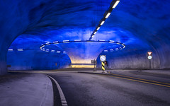 Norway lights (kewlscrn) Tags: roundabout kreisel norwegen norway light blue orange trafic street road roadtrip travel photography remo bivetti kewlscrn nikon nikkor 1424mm 24mm f28 110 contrast tunnel cave composition d800 lights vibrant blau kreuzung