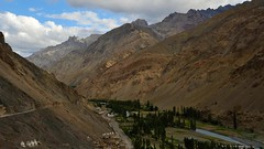 View up the valley on the route I was to cycle to Photoksar, from Eternal flames, Wanla Monastery
