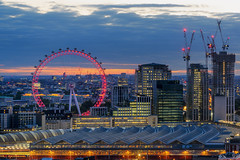 Waterloo Eye (JH Images.co.uk) Tags: london londoneye bluehour ferris red clouds dusk construction city skyline hdr dri night arch