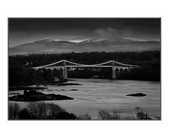 Mono Menai Bridge (Mike A Mckenna) Tags: bridge blackandwhite mono sea landscape explore mountains snow snowdonia clouds moody longexposure loveit print