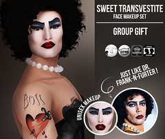 Dotty's Secret - Sweet Transvestite - [Group Gift] (Dotty's Secret - Drag Queen Make-up) Tags: ad ads advertising secondlife avatar dottyssecret dottysecret applier original creation catwa omega classic shop shopping sl marketplace makeup fashion head eyeshadow lipstick fierce fishy lgbt eleganza fabulous dragqueen drag queen lelutka groupgift gift sweettransvestite therockyhorrorpictureshow franknfurter halloween