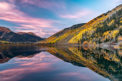Crystal Color (Kirk Lougheed) Tags: colorado crystallake ouraycounty redmountain sanjuanmountains usa uncompahgrenationalforest unitedstates aspen autumn cloud dawn fall lake landscape mountain mountainside outdoor reflection sky sunrise tree water