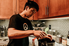 Cooking with Mitchell (Lyss Nichole) Tags: boy cooking cook meat food kitchen nikond600 28mm