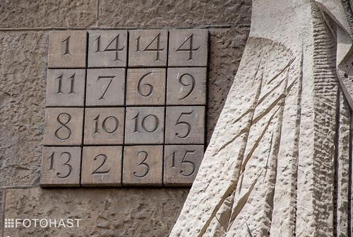 Magische vierkant van de Sagrada Familia wat uitkomt op 33