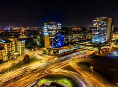 city light Vilnius (Zygios) Tags: vilnius city citylights lithuania night longexposure drone dronefly dronephotography dji mavicpro 1 1s lighttrails traffic building road sky skyline lietuva architecture life urban