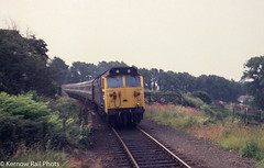 Warspite arrives at Penmere in 1978 (Kernow Rail Phots) Tags: class50 50014 warspite penmere falmouth cornwall kernow 0910falmouthpaddington paddington passenger train trains railway railways railroad oildepot saturday 17th june 1978 1970s 1940s 1967 britishrail br hoover bluegrey mk2 coaches trees weeds summer locomotive swanvale summersaturdays