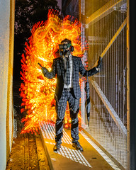 Flame Grilled (stephenk1977) Tags: australia queensland qld brisbane nikon d3300 light painting art photography flame fire blade lightblade lightblading blading effect grill portrait apocalyptic apocalypse night