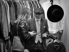 Old Fashioned (Nikonsnapper) Tags: olympus omd em1 zuiko 45mm market stall vintage clothes hat waistcoat jacket cardiff bw chain pocketwatch smart man