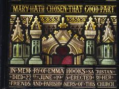 Detail of the Dedication Panel of the Emma Hooks Memorial Stained Glass Window; Christ Church, Brunswick - Glenlyon Road, Brunswick (raaen99) Tags: brooksrobinsonandcompany brooksrobinsoncompany brooksrobinsonstainedglass brooksrobinsoncompanystainedglass brooksrobinsonandcompanystainedglass stainedglass 20thcenturystainedglass twentiethcenturystainedglass 1945 1940s christchurch christchurchbrunswick christchurchofengland christchurchanglican churchofengland anglicanchurch anglican brunswickchurch brunswick glenlyonroad glenlyonrd church placeofworship religion religiousbuilding religious melbourne victoria australia architecture building window lancet lancetwindow biblical bible jesusinthehouseofmarthaandmary christinthehouseofmartha jesus malesaint martha mary emmahooksmemorialstainedglasswindow emmahooks memorial memorialstainedglasswindow maryhathchosenthatgoodpart