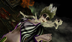 BEETLEJUICE_isis (kyoka jun) Tags: beetlejuice halloween creepy movie women men sl secondlife skin hairs costume fancy horror stripes outfit clothes eyes shoes rotten moss monster dead irrisistible maitreya belleza slink hourglass tonic aesthetic signature omegaappliers mesh autumn makeup gothic