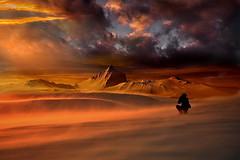 Rosso fuoco (Zz manipulation) Tags: art ambrosioni zzmanipulation cielo caldo rosso fuoco people fotografo deserto sera nuvole paesaggio rossodeserto sabbia dune landscape sand