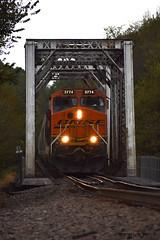 Empties Across The Rock (R.G. Five) Tags: sand train railroad bnsf rock river aurora sub oregon il