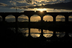 Blinded By The Light (whosoever2) Tags: sunset uk united kingdom gb great britain england nikon d7100 train railway railroad october 2018 brush type4 class47 dutton viaduct river weaver reflection