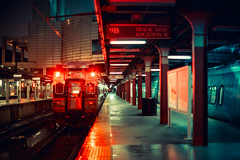 Boston (Jon Siegel) Tags: nikon d750 50mm 12 50mmf12 train t boston railway night reflections evening raining nostalgia
