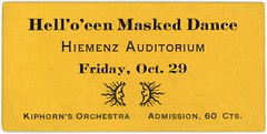 Hell'o'een Masked Dance Ticket, Lancaster, Pa., October 29, 1920 (Alan Mays) Tags: ephemera tickets dancetickets admissiontickets admissions paper printed halloween holidays october31 orange helloeen helloween hell hello helloeenmaskeddance halloweenmaskeddance maskeddance maskeddances masked masks dances dancing hiemenz hiemenzs hiemenzsauditorium auditoriums halls dancehalls kiphorn kiphornsorchestra orchestras music musicians musicgroups moons halfmoons crescentmoons lightningbolts thunderbolts electric electricity electrical illustrations lancaster pa lancastercounty pennsylvania october29 1920 1920s antique old vintage typefaces type typography fonts landis dblandis davidbachmanlandis pluck pluckprint pluckartprint pluckprintery pluckartprintery printers printeries printshops jobprinters