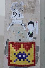 Fred le Chevalier + Invader_8324 Paris 19 (meuh1246) Tags: streetart paris fredlechevalier invader ruehenriturot paris19 spaceinvaders mosaïque