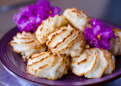 Violet plate of coconut cookies on wooden background. Close up shot. Macaroons (mayaafzaal) Tags: baked breakfast brown cake closeup coconut coconutcookies cookie delicious dessert eating food fresh gourmet homemade lilac meal muffin pastry plate rustic snack sugar sweet tablecloth tasty texture violet wheat white wooden