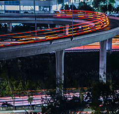 oyster point flyover (pbo31) Tags: bayarea california nikon d810 color night dark october 2018 boury pbo31 sanmateocounty lightstream motion traffic roadway bus muni over black 101 southsanfrancisco oysterpoint ramp flyover highway red signal