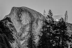 Moon Rise By Half Dome 2018 (Jeffrey Sullivan) Tags: adobelightroom on1pics national park fall colors photography workshop yosemitenationalpark yosemitevalley yosemitevillage mariposacounty california usa nature landscape travel night photographer canon eos 5d mark iv photo copyright 2018 jeff sullivan october blackandwhite yosemite half dome