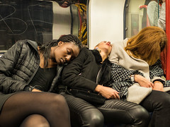 "Be (Magic Pea) Tags: ""street photography"" photo"" street unposed candid photo photography ""magic pea"" urban london bethnalgreen tube underground subway sleeping people nighttube"